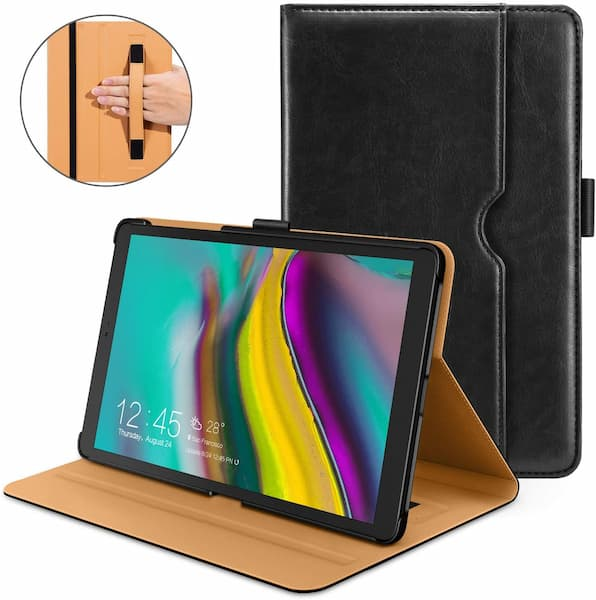 DTTO Premium Leather Folio Cover with Hard Back for Samsung Galaxy Tab S5e