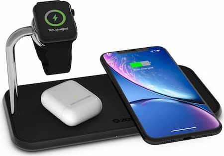 ZENS Dual 10-Watt Aluminum Wireless Charging Pad and Watch Charger Station